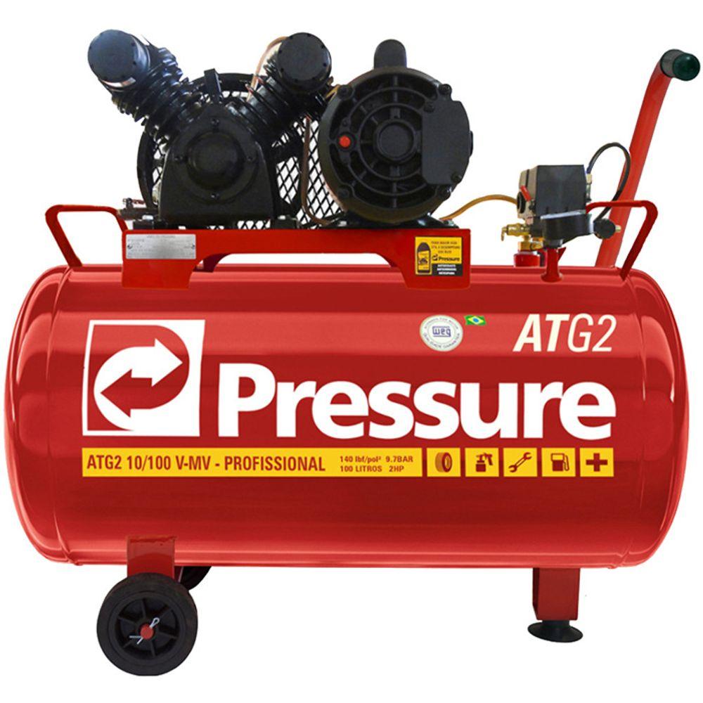 5aae0d548 Compressor 10 Pés 100 Litros 140 Libras 2 HP ATG2 Monofásico com Rodas -  Pressure