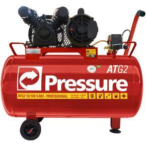 Compressor 10 Pés 100 Litros 140 Libras 2 HP ATG2 Monofásico com Rodas - Pressure